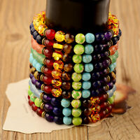 7 Chakra Healing Bracelets Handmade Volcanic Lava Stone Mala Meditation Beads