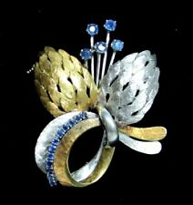 BEAUTIFUL MULTI COLOR 18K GOLD AND SAPPHIRE BLOSSOM BROOCH