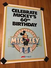 Mickey Mouse's 60th Birthday 1987 2 Huge Posters Kmart Disney Vintage 36 x 48