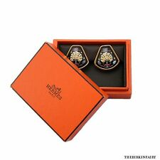 AUTHENTIC HERMES Hermes Black Clip-on Earrings with Box!