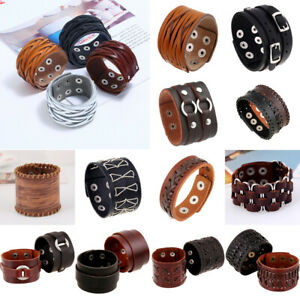 Punk Men Women Handmade Wide Leather Bracelet Braided Bangle Wristband Cuff Wrap