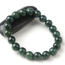 Natural Grade A Jade (jadeite) 10mm Bead Oil-Green Bracelet Good Luck