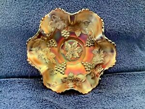 Carnival glass dish, Grape and cable pattern.