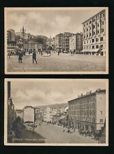 Italy TRIESTE Piazza del Impero & Piazza Goldoni x2 WW2 OAS used PPCs