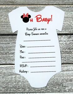 Set of 10 Red Minnie Mouse Baby Shower Invitations with Envelopes - Fill In