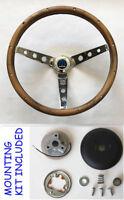 "68 69 Charger Dart Coronet Grant Wood Steering Wheel Walnut 15"" chrome spokes"