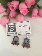 Silvertone Thomas and Friends - THOMAS Blue Train Dangle Earrings
