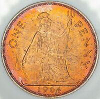 1964 GREAT BRITAIN 1 ONE PENNY BU FLAWLESS TONED CHOICE COLOR UNC GEM (DR)