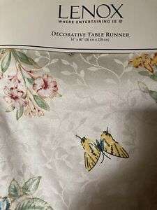 New Lenox Butterfly Floral Table Runner 14x90 Spring Easter