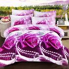 Purple Rose Queen Size Bed Quilt/Doona/Duvet Cover Set New Pillow Cases Necklace