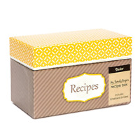 Family Recipe Card Box with 8 Tabbed Dividers + 40 Matching Recipe Cards