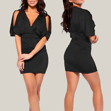 Batwing Sleeve with split Empire Party Mini Dress co9704 Black