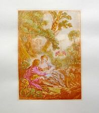 "FRANCOIS BOUCHER Vintage Hand Colored Art Etching ""IN OCTOBER"""