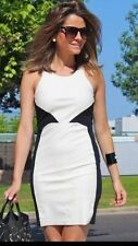 ZARA BLACK WHITE FAUX LEATHER COMBINATION BODYCON DRESS SIZE LARGE REF 5644 050