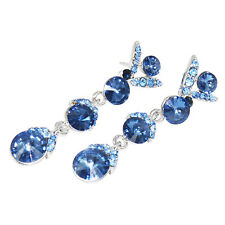 18K White Gold Plated Blue Crystal Diamond Drop Earrings, Bridal, Party, Formal