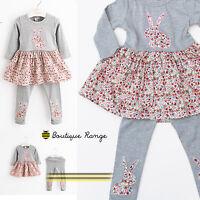 Lovely beautiful Quality Long sleeve Flowers Bunny Dress + legging set (1-6Y)