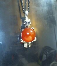 Handcrafted Silver Skeleton Wrapped Red Agate Gemstone Black Necklace