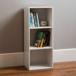 Oxford 3 Tier Cube Bookcase Display Shelving Storage Unit Wooden Stand White New
