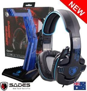 SADES GPOWER SA-708 Stereo PC Headset Headphones Noise Cancel Mic 3.5mm & Stand