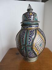 Antique Maroccan Ceramic Covered Jar  with  Fine Filigree Silver/Nickel Work