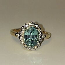 14k Yellow and White Gold With Natural Blue Zircon and Diamond Ring size 7  3.8g