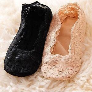 Women Invisible Low Cut Socks Slipper Cotton Lace Non-Slip Run Resistant Hosiery