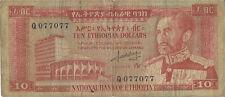 Ethiopian 10 Dollar Bill with Hailie Selassie Ethiopia