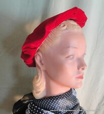 Sweet Vintage 50's 60's Red Felt Beret Style Hat w Red Cord Bow Accent