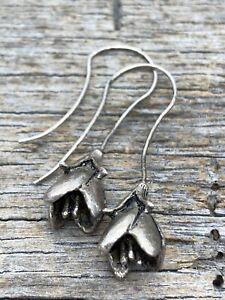 Vintage Artisanal Sterling Silver Rose Drop / Dangle Fish Hook Earrings Unsigned