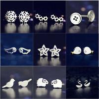 New 925 Solid Silver Flower Animal Dangle Stud Earrings Ladies Womens Gifts UK