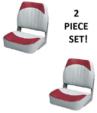Folding Boat Seats 2-PC   Boat Fishing Pontoon Set RED/GREY Embossed Vinyl Wise
