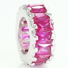 NEW Pinkish RED CZ Baguette BEAD Sterling Spacer fits European Charm Bracelet