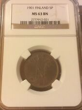 5 PENNI 1901 NGC MS 63 BN Russia Finland