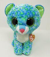 "Ty Beanie Boos Leona Leopard 9"" Medium Blue Green Sparkle Eyes Toy"
