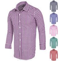 Mens Plaid Casual Dress Cotton Shirts Slim Fit Long Sleeve Button Down Shirt Top