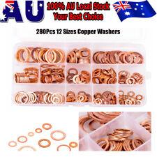 280pcs Assorted Solid Crush Copper Washers Sump Plug Banjo Bolt Tap W/Box