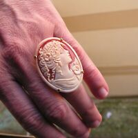 Vintage Flower' Ring Sardonyx Shell  Cameo Size 8 adjustable