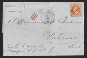 FRANCE TO PALERMO ITALY NAPOLEON 40 CTS ON COVER 1869