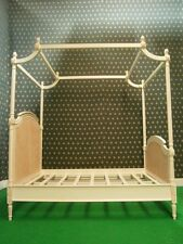 Single Twin size Antique Ivory / Cream pottery barn style four poster rattan bed