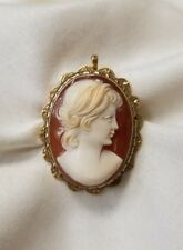 Estate 18k yellow gold Cameo brooch  pendant  safety pin closure
