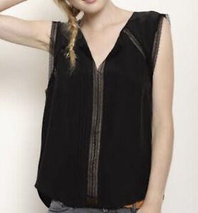 Des Petits Hauts 'Muesli' Black Silk Top. Size 36. Good Condition.