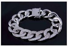 Luxus Armband Rhodium 18K vergoldet + Zirkonia Steine Gliederkette Armband New