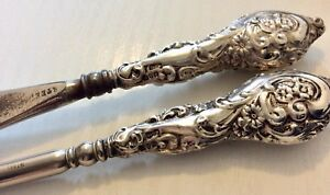 Superb Antique Chester 1912 Solid Silver Shoe Horn & Matching Silver Button Hook