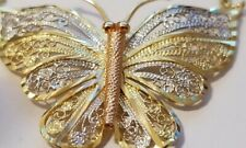 14K Yellow White Gold Butterfly Tri Color Necklace.. GREAT GIFT!!