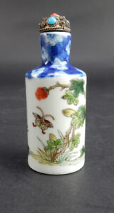 Antique Chinese Qian Long  Porcelain Snuff Bottle, Turquoise And Coral Stopper