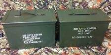 Lot of 2 US Military Metal Ammunition Ammo Can Box  5.56mm  NATO M855 PA108