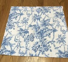 Set Of 2 Martha Stewart Floral Blue White French Country Pillow Sham Toile