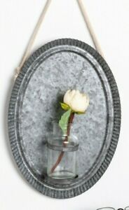 Country Tin Hanging Plaque with Glass Vase