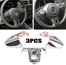 3Pc Steering Wheel Chrome Inserts Cover Trim For VW Golf Polo Jetta Caddy Touran