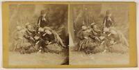 Scena Da Genere Artistico Bambini Foto Stereo PL53L3n9 Vintage Albumina c1865